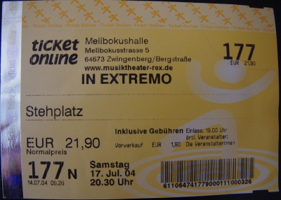 in extremo ticket 2004